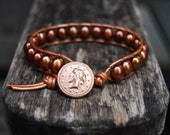 Wrap Leather Bracelet with Bronze Freshwater Pearls & Vintage Button - Copper Gold Brown Beaded Greek Roman Coin Fall