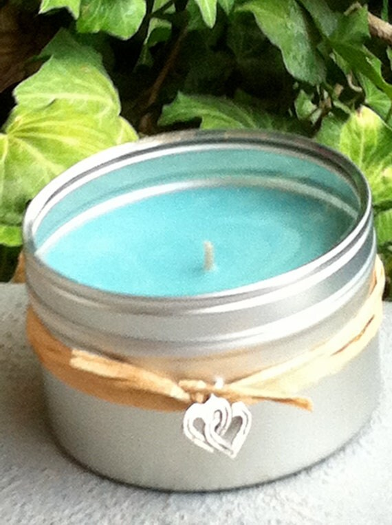 6 oz Metal Travel Tin Candle Jamaica me Crazy Aqua Soy Hand Poured with Clear Plastic Lid. Free Heart Charm.