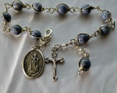 Unbreakable Blue Coral Bracelet/Chaplet, Rosary, Choice of St. Medal, Wire Type & Decorative Wrap
