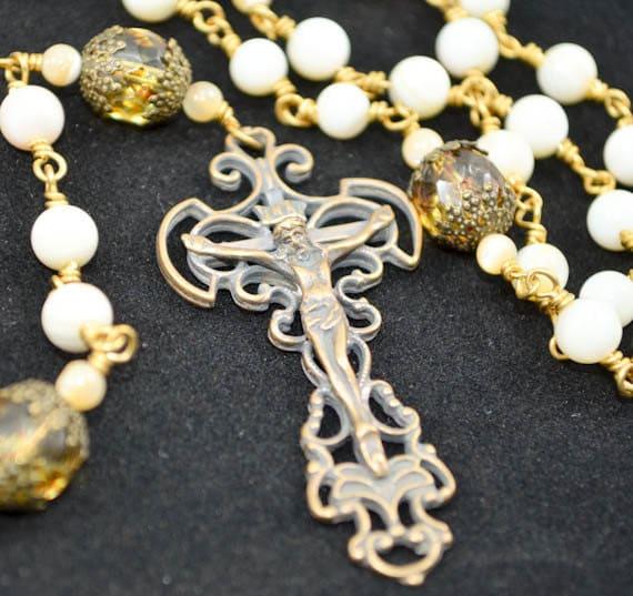 OOAK Mother of Pearl Unbreakable Heirloom Rosary