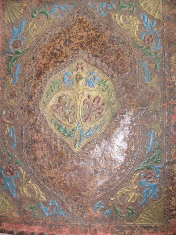 Antique Leather Bible Cover Book Hand Tooled Stunning