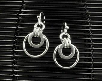 Silver Disc Drop Earrings - Sterling Silver Dangle Earrings - Circle Disc Drop Earrings - Hook Earrings - Ring Link Disc Dangle Drop
