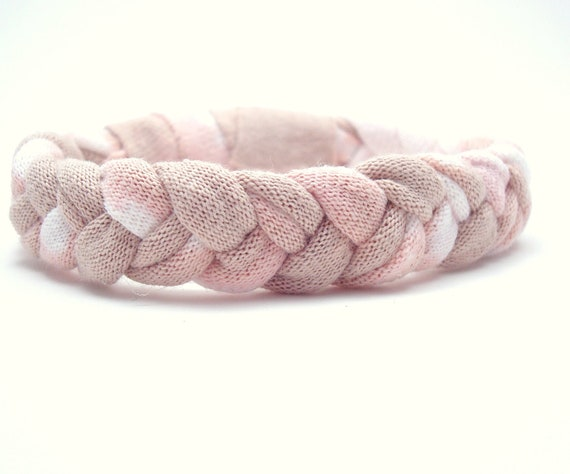 Recycled T shirt Bracelet Woven Bracelet Fiber Braided Bleached Peach Taupe Upcycled
