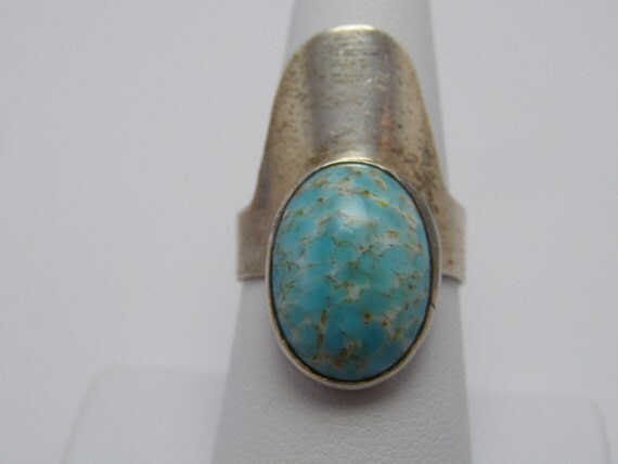 Vintage Mexican Modernist Taxco Mexico Sterling Silver Robins Egg Turquoise Ring