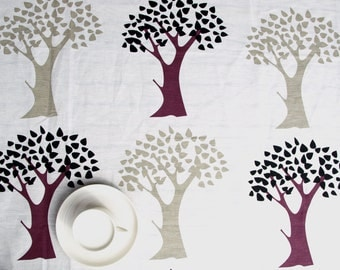 """Linen tablecloth white fall trees burgundy beige 56""""x56"""" or made to order your size,also napkins and table runner available, with GIFT"""