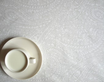 """Wedding Tablecloth white with light grey 56""""x 56"""" or made to order your size, also napkins, table runner available"""