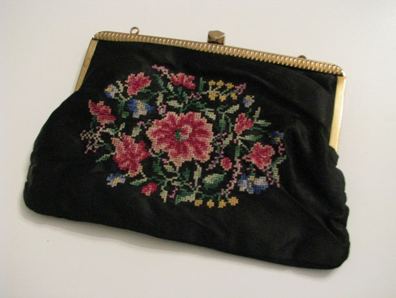 30s Black Satin Clutch w/ Tapestry Rose Embroidery // Vintage Purse