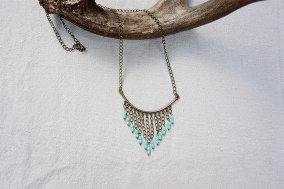 Mint Fringe Necklace in Antique Brass