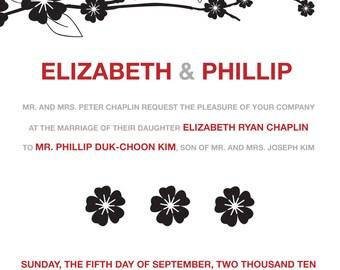 Asian Floral Wedding Invitation Ensemble - DIGITAL IMAGE