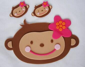 "7"" Monkey Love Fondant Cake Topper Pink Flower Mod Plaque"