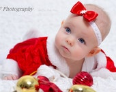 Christmas headband baby, red bow, snowflake,  dress accessory, photo prop