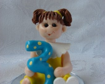 Little Girl Polymer Clay Children's Birthday Cake Topper Christmas Ornament Figurine.  A hand crafted art sculpture.