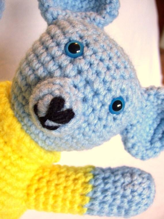 Blue Teddy Bear Crochet Amigurumi Plushie Louie Bear