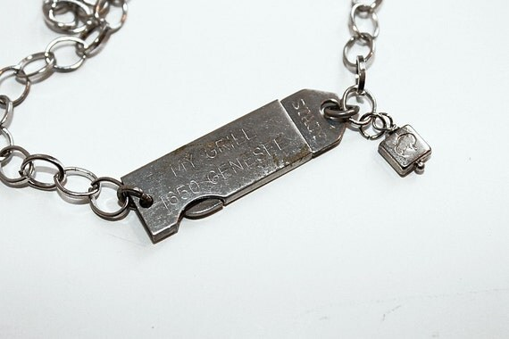 """Buffalo, NY Necklace - """"Mystery on Genesee"""" with found objects, repurposed hardware thingamabob, engraved Stacy"""