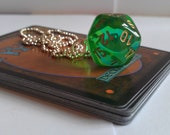 Green and gold D20 gaming dice pendant