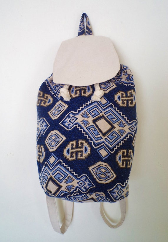 Reserve sale Kilim Cotton Drawstring Backpack  Amy Rose O'Hanlon