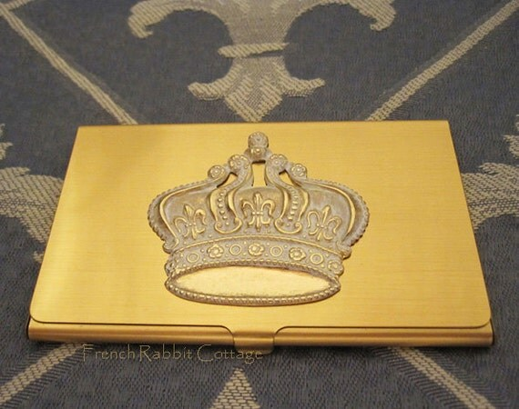 French crown business card case holder by frenchrabbitcottage1 for Crown business cards