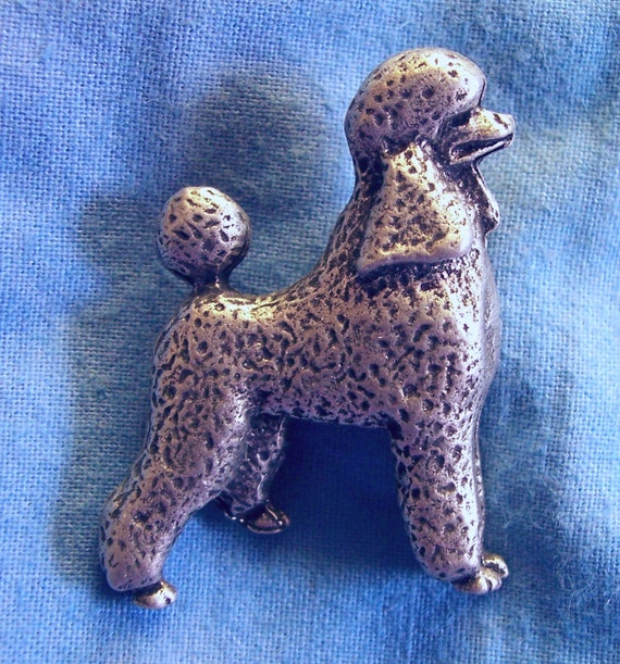 Standard Poodle, Clutch Back Pin, Handmade, Lead Free Pewter