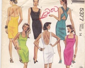 Mccall 5377 Sz 14  Fitted Knit Pullover Dresses With Neckline And Back Variation