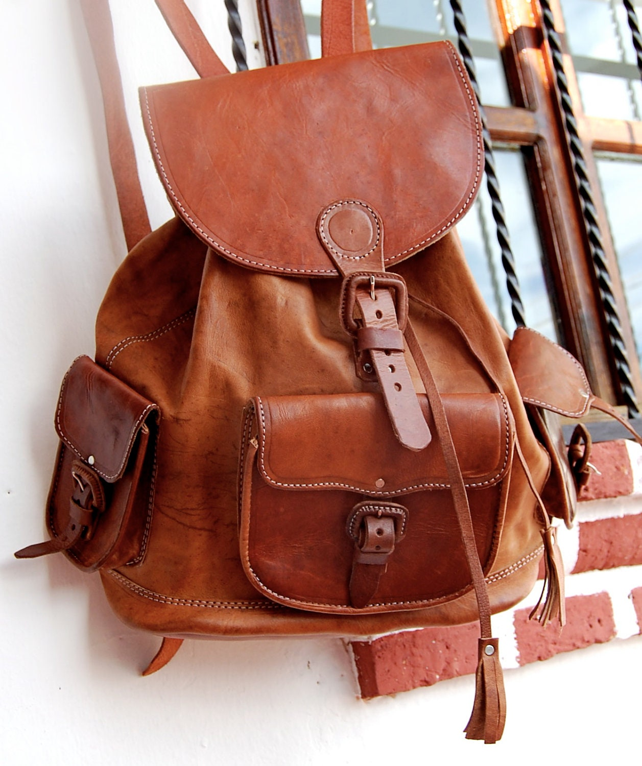 Brown Leather Bag / backpack HandMade Chiapas Mexico