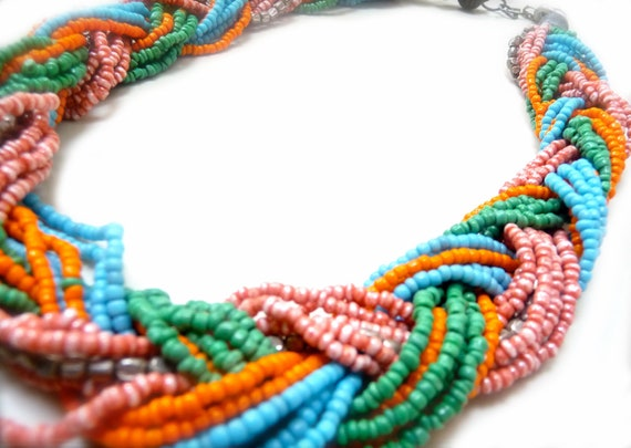 June Neon Woman's Necklace Festive Rainbow Multicolored Party Seedbeads with Clasp