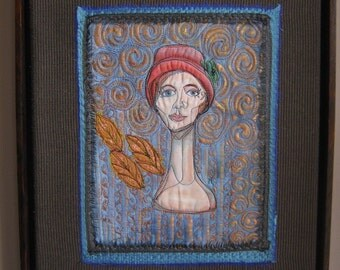 Sweet Judy- a Mixed Media Textile Art piece featuring a Hat Mannequin