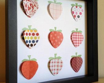 Red Strawberry,Paper Art, Strawberry Shortcake, Kitchen Decor, shadow box frame, Strawberry Nursery by PaperLine
