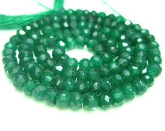 """Emerald Green Natural Quartz Micro Cut Rondelles 14"""" Strand -Stones measure- 4mm"""