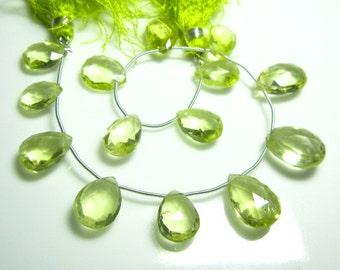"""AAA-Lemon Quartz Faceted Pear Briolettes- 8"""" Strand -Stones measure- 9x12-11x17mm"""