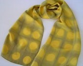 Silk Scarf Hand Dyed Natural Dyes Shibori in Leaf Green and Gold