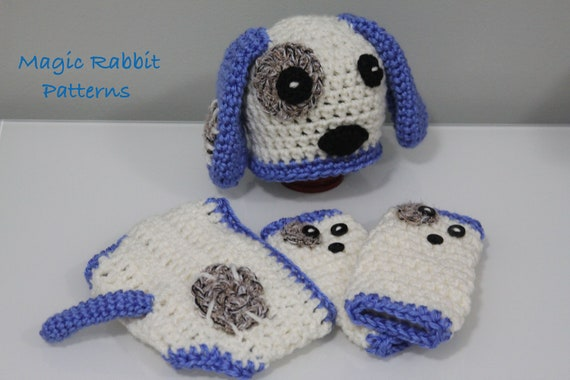 Crochet Dog Hat And Diaper Cover Pattern : Items similar to Newborn Crochet Puppy Hat, Diaper cover ...
