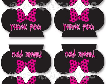 Minnie Mouse Thank You Favor Bag tent signs- Customized Digital File
