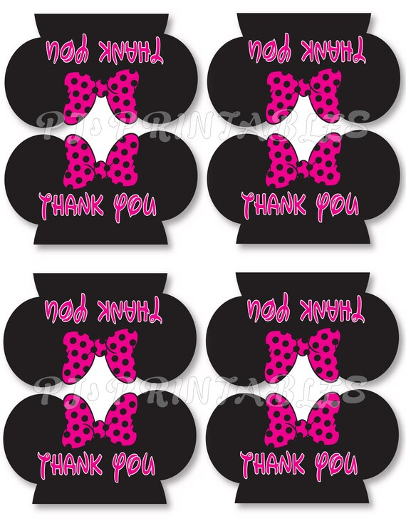 minnie mouse thank you favor bag tent signs customized digital file