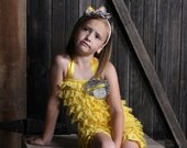 Mix & Match Colors - Yellow Ruffled Lace Petti Romper adorned with Silk Dupioni, Grey Flower and Vintage Bow - Baby Toddler Child Girl