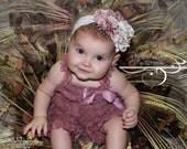 Headband AND Rose Mauve Ruffled Lace Petti Romper Set - Matching Shabby Chic Headband - Toddler, Baby, Girl, Child