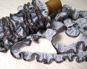 Pre-Made Blue Stripe Ruffle with Floral Bias Binding
