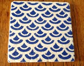 Marble Trivet  - Hand Stamped - Wave Design