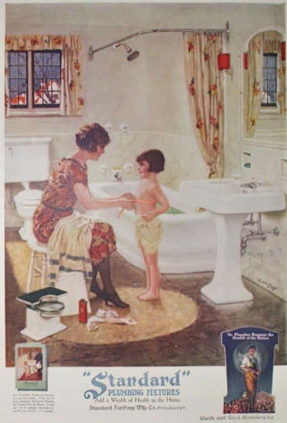 Standard Plumbing Fixtures Bathroom Ad Vintage 1920s Good