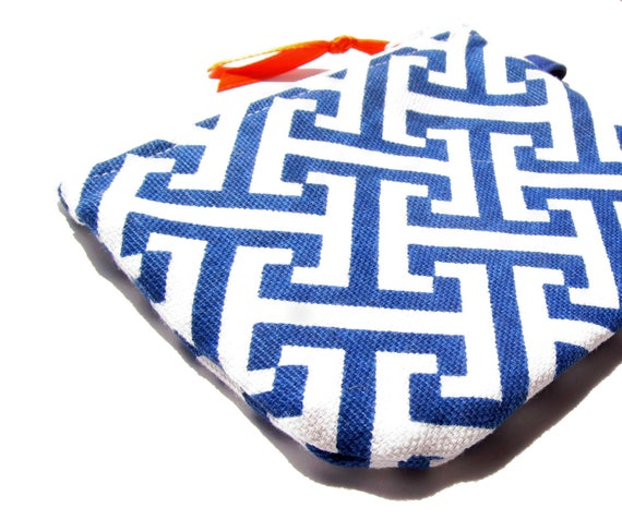 Blue and Orange Geometric ID Case- zippered pouch keychain or wristlet