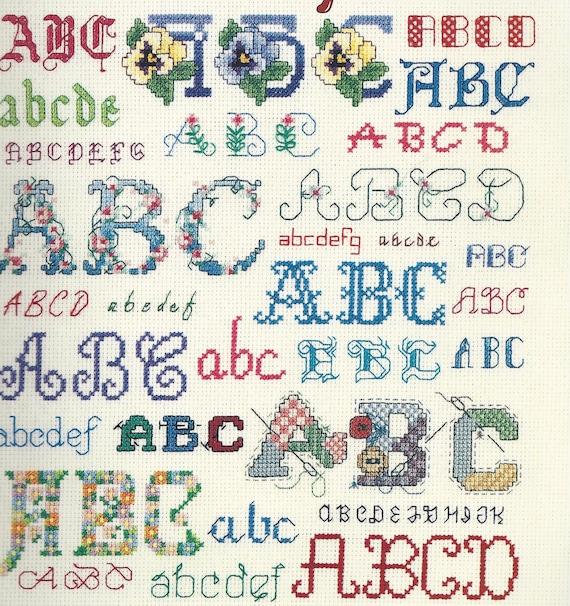 Cross Stitch ALPHABETS in CROSS STITCH Pattern Book-136 Diffferent Alphabet Charts Both Upper/Lower Case