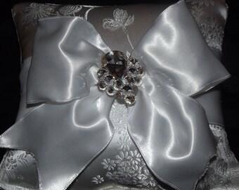Elegant White Brocade Satin Ring Bearer's Pillow with Crystal Trim