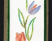 Paper Embroidery bookmark with tulips, green, blue, pink colored embroidery floss