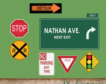Road Signs Wall Decal REUSABLE Wall Decal Street Signs