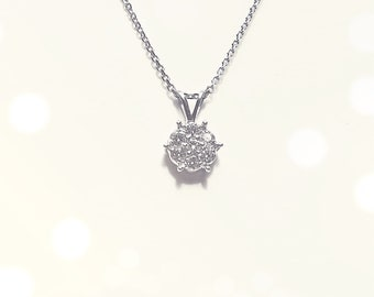 Diamond Cluster Flower Necklace