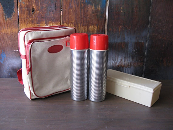 Vintage Picnic Camping Set with 2 Thermos - Canvas Backpack - and Food Box - NEVER BEEN USED