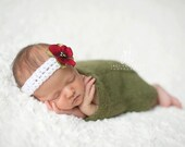 Newborn {First Noel} Crochet Headband with Flower Accent, Newborn Photography Prop, Christmas Photography Prop