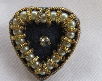 Antique Victorian Jewelry Promise Heart 1800s Victorian Brooch Heart Brooch Pearls Rhinestone Gold Rope Embelished For Infinity Scarf