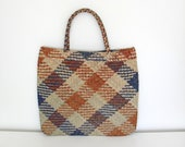 Large African/ Ethnic Wicker Tote/ Handbag with Checkered Pattern