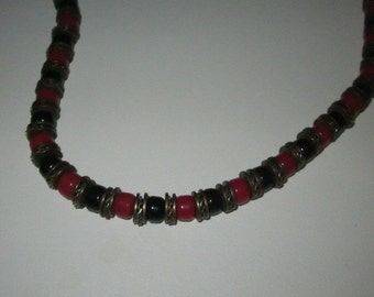 """Vintage 30"""" Beaded Black and Red Necklace on a Leather Cord"""