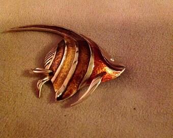 Vintage Boucher Enamel Fish Brooch in Gold Tone